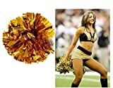 BCLAND Pack of 2 Cheerleading Metallic Foil & Plastic Ring Pom Poms Cheerleading Poms