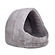 Dog Bed, Short Plush Covered Dog Bed Pet Cave Dog Igloo With Removable And Reversible Cushion Bed Et Cushion All Dual Use For Dogs, Cats Rabbits And Small And Medium Sized Animals Super Comfortable Lovely 4 Colors ( Color : Gray )