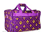 Snowflake Designs Purple and Gold Fleur de Lis Duffel Bag