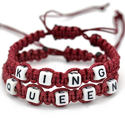 Braceus King and Queen Handmade Rope Weave Couple Bracelet Lovers Bracelets Adjustable For Girlfriend Boyfriend Chain Bangle (Wine Red)