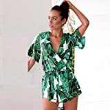 Asskdan Womens Fashion V Neck Leaves Print Short Sleeve Jumpsuit Rompers