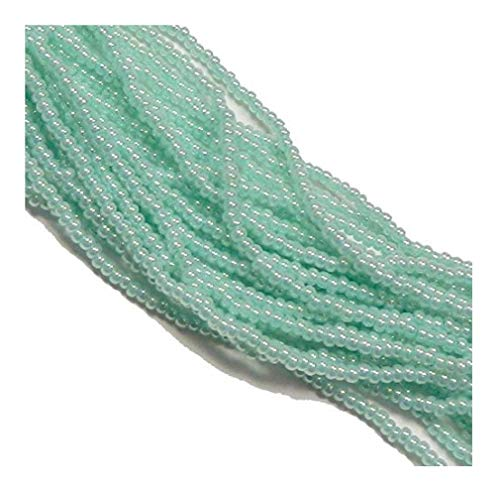 Green Ceylon Pearl Czech 6/0 Seed Bead on Loose Strung 6 String Hank Approx 900 -