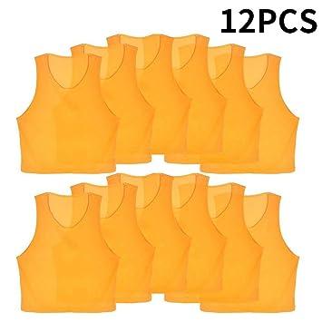 12pcs Petos de Entrenamiento Petos de Fútbol para Niños ( Color   Amarillo ) 9e9d55bd434ec