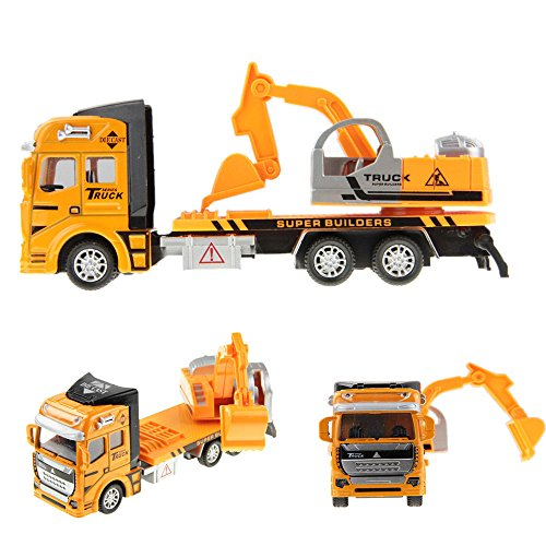 Holiberty 1:48 Scale Childrens Boys Toddlers Car Toy Gift Pullback Alloy Diecast Car Model Digger Truck Excavator Lorry Building Construction Vehicle Boxed for Kids 3 Years and up