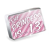 Floating Charm Princess is 13, Birthday in pink Fits Glass Lockets, Neonblond