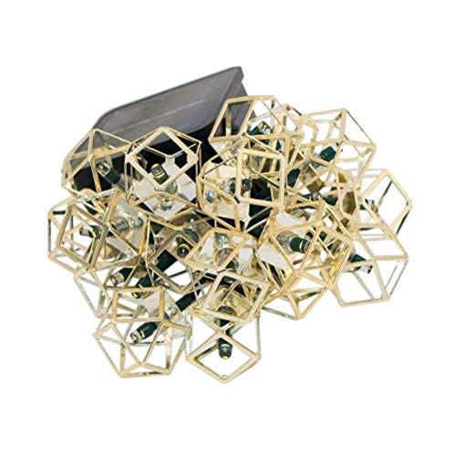 Easternstar Solar Powered String Lights Outdoor 19.6ft 30 LED Geometric Metal Stainless Steel Polyhedral Lights for Halloween Parties Home Outdoor Garden Lawn Patio Christmas Trees (Warm White)