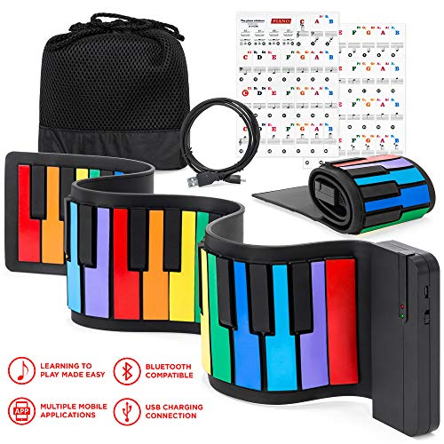 Best Choice Products Kids 49-Key Portable Flexible Roll-Up Piano Keyboard Musical Educational Toy Instrument w/Learn-To-Play App Game, Bluetooth Phone Pairing, Note Labels, USB Charging – Rainbow