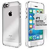iPhone SE Case, fits iPhone 5s 5 SE (Clear) SaharaCase Protective Kit Bundled with [Tempered Glass Screen Protector] Slim Fit Rugged Protection Case Shockproof Bumper Hard Back (Clear)