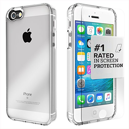 iPhone SE Case, fits iPhone 5s 5 SE (Clear) SaharaCase Protective Kit Bundled with [Tempered Glass Screen Protector] Slim Fit Rugged Protection Case Shockproof Bumper Hard Back (Clear) by Sahara Case