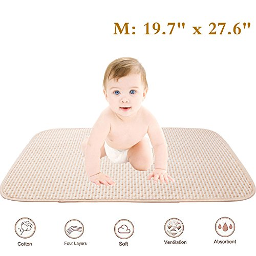 Baby Waterproof Mattress Crib/Bed Pads Organic Cotton Incontinence Sheet Cover Protector Changing Mat Diapering Washable Bedwetting Pad Ultra Absorbent for Toddler Adults (M)