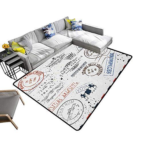 Vintage Decorative Floor mat Retro Post Stamps Postage Mail Paris Antique Artistic Design Vocation Traveling 78
