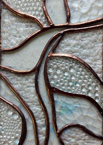 Handmade Clear Textured Stained Glass Abstract Art Cross Easter Suncatcher Window Spirit Ornament by Art Integrations