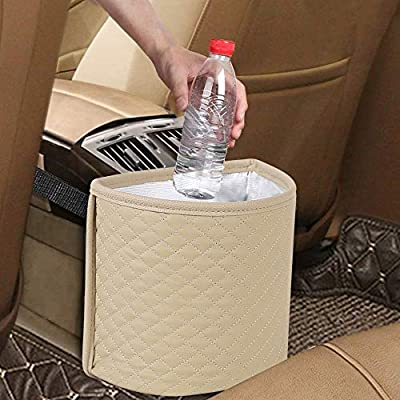 Portable Auto Garbage Bags Litter Organizers Trash Pail with Adjust Headrest Holder Waterproof Mini Container Car Accessories KNGUVTH Car Garbage Cans Hanging Vehicle Trash Bags Bins Drive 2 Pack