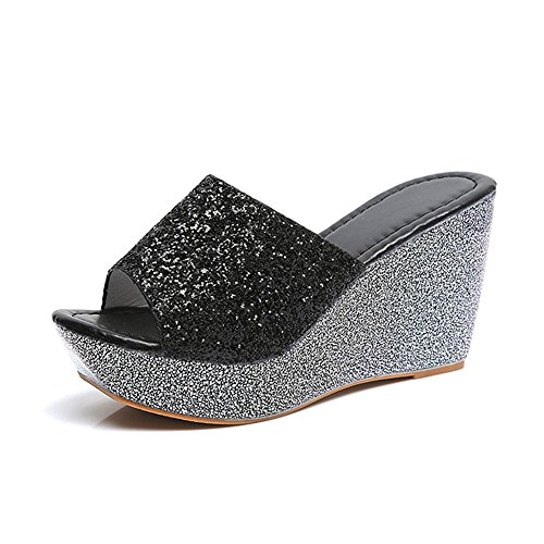 Shoes Sandals Summer pit4tk Waterproof Slippers Women Beach Wedge Platform Sandals Sandals Black 8qxa6H