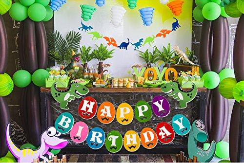 Dinosaur Happy Birthday Banner, Colorful Felt Garland Flag for Dino Jungle Jurassic First Birthday Dinosaur Party Supplies Decorations by Haptda (Image #7)
