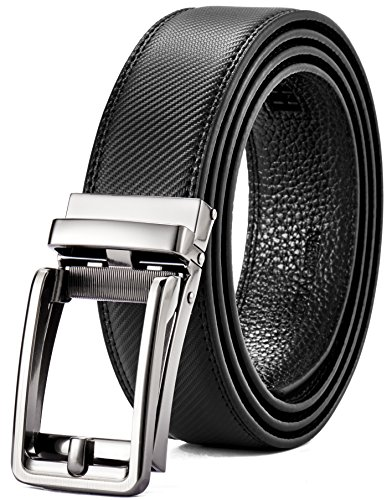 Genuine Leather Ratchet Belt for Men with One Click Buckle-Trim To Custom Comfort Fit and Adjustable Dress (Classic Black) by CHAOREN