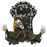 Halloween Haunters Animated Scary Graveyard Tombstone & Screaming Reaper Prop Decoration - Moving Head & Arms, LED Eyes - Groundbreaker RIP Grave Marker