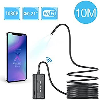 Wireless Endoscope, TODSKOP 5.5mm WiFi Borescope 1080P Semi-Rigid Waterproof Inspection Camera, 2.0MP HD Snake Pipe Camera for Android and iOS Smartphone, iPhone, Samsung and more Tablet PC(10m/33FT)