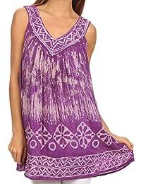 Sakkas Wanda May Embroidered Batik Scoop Neck Relaxed Fit Sleeveless Blouse