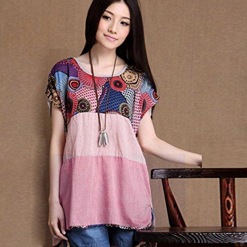 Winwintom Tallas Grandes Mujeres Casual Floral Imprimir Linen Loose T-Shirt O-Neck Blusa Grande más blusa de tamaño talla extra camiseta Rosado