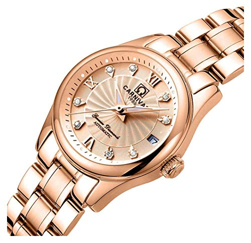 (Women's Automatic Mechanical Watch Casual Fashion Analog Waterproof Stainless Steel Rose Gold Dress Watch (Rose)