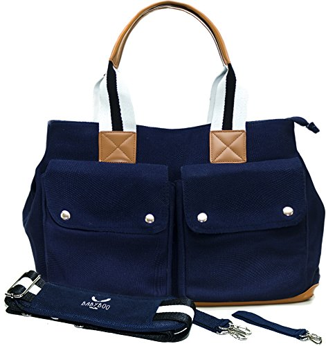diaper-bag-by-babyboo-16-with-changing-pad-and-stroller-strap-baby-bag-navy-black-white-cute-designe
