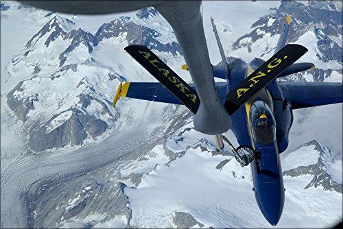 18a Blue Angels - 24x36 Poster . Kc-135R Stratotanker Refuels Fa-18A Hornet Navy Blue Angels