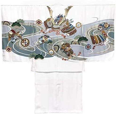 七五三 着物 5歳 男の子(正絹)子供 羽織 着物 アンサンブル「白地、兜」HDW401