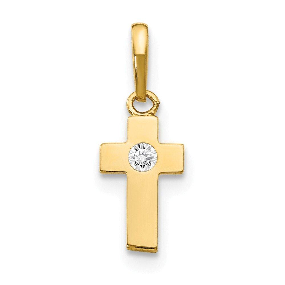 Mia Diamonds 14k Yellow Gold CZ Childrens Cross Pendant
