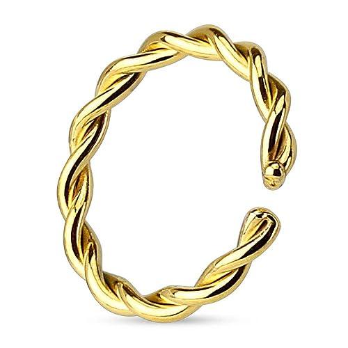 FAKE NASENRING SEPTUM KLEMMRING RING NASENPIERCING NASE SILBER GOLD HUFEISEN BCR