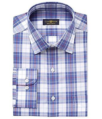 Club Room Men's Classic-Fit Wrinkle Resistant Plaid Dress Shirt