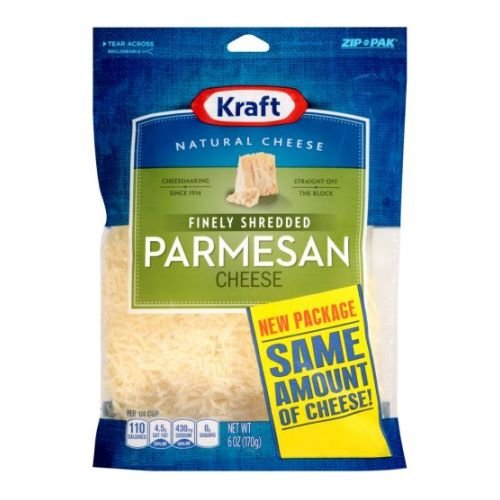 Kraft Zip Pak Natural Finely Shredded Parmesan Cheese, 6 Ounce - 12 per case.