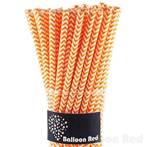 Biodegradable Paper Drinking Straws (Premium Quality), Pack of 100, Chervon - Orange (Homemade Food Halloween Costume)