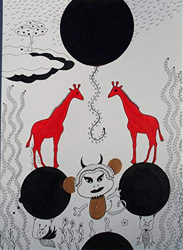 Giraffes - ORIGINAL DRAWING - Black Waterproof Ink FANTASY DRAWING on Heavy STRATHMORE White Paper - SIZE:12