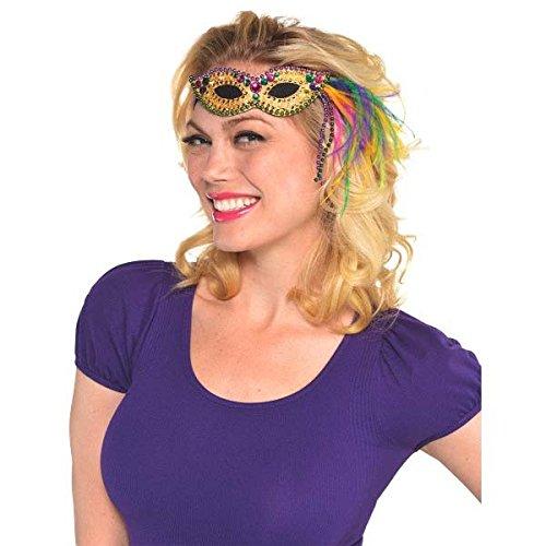 [Mardi Gras Feather and Bead Mask Elastic Headband Costume Party Headwear Accessory, Fabric, 2