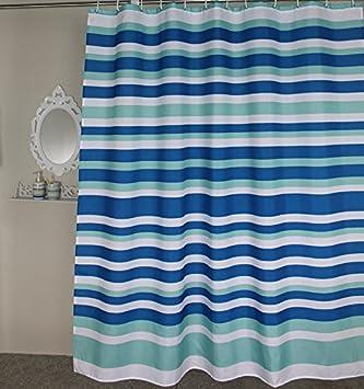 Amazon.com: Welwo Blue White Horizontal Striped/Stripes Stall ...
