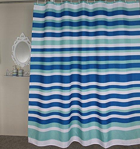 Welwo Blue White Horizontal Striped/Stripes Stall Shower ...