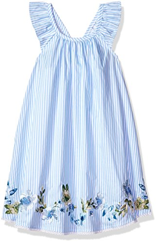 Mud Pie Baby Girls Floral Striped Flutter Sleeve Casual Dress, Blue 12-18 Months ()