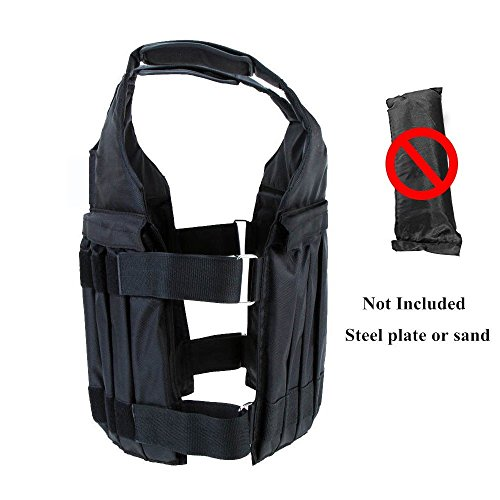 Yosoo 44LB/20KG Adjustable Weighted Vest Workout Exercise Boxing Training Fitness (Weights not Included)