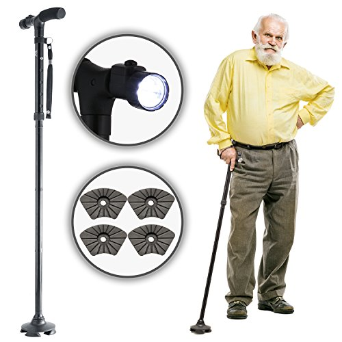 Walking Cane by Dr. Maya - with FREE Cane Tips and LED Light - Superior Adjustable Travel Balance Stick for Elderly Men and Women - Walker for Senior - Pivoting Base, Quad Tips & Cushioned Handle