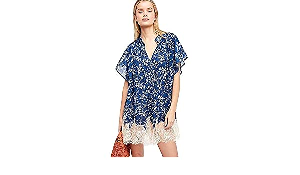 20f3acbbe666 Free People Marigold Lace-Hem Printed Dress Navy (S) at Amazon Women s  Clothing store