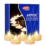 AGPtEK Timer Flickering Flameless LED Candles Battery-Operated Tealights for Wedding Holiday Party Home Decoration 24pcs(Warm White)