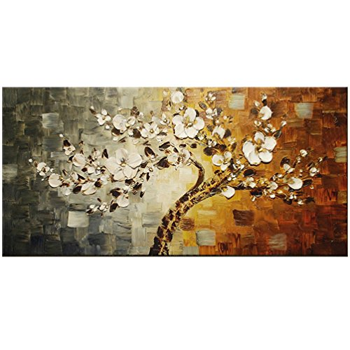 Unframed Hand Painted Palette Knife Painting Flower Modern Abstract Oil Painting On Canvas Wall Art Gift For Living Room Decor (20x40 inch)