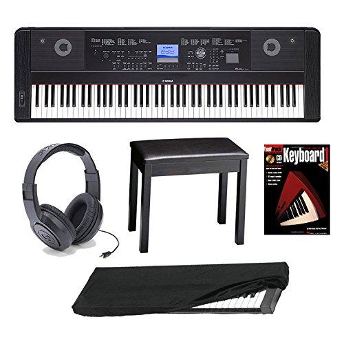 Yamaha DGX650B 88-Key Digital Piano Bundle with Knox Padded Bench, Dust Cover, JVC Headphones, Focus on Piano (Book/CD) & FastTrack Keyboard DVD