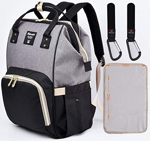 Diaper Bag Backpack Multifunction Waterproof Travel Baby Bag Backpack Nappy Changing Bags for Baby Care, with Changing Pad Stroller Straps, Large Capacity Stylish and Durable(Black&Gray)