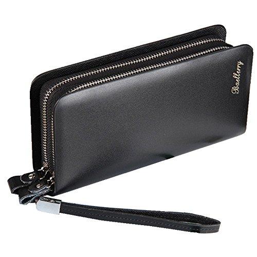 Men`s Leather Clutch Wrist Bag Zip-Around Long Wallet Handbag Large Capacity Business Organizer Checkbook Card Cash Cellphone Holder (Smooth Black) (Double Zip Around Checkbook Wallet)