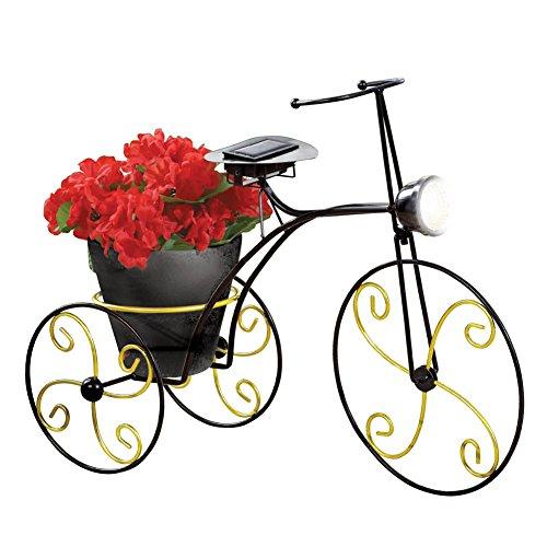 Solar-powered Metal Bicycle Garden Planter, Black (Bicycle Garden Sculpture)