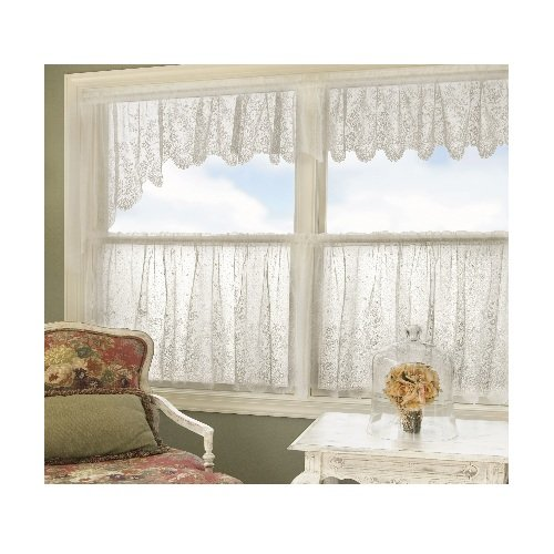 (Heritage Lace Floret 68-Inch Wide by 32-Inch Drop Swag Pair, White)