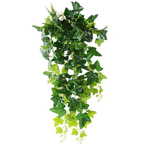 Luyue Artificial Hanging Plants Green Plastic Ivy Leaves Fake Ivy Vine Pack of 1 (Ivy Leaves) -