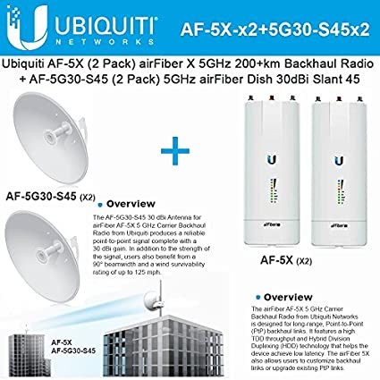 Ubiquiti AF-5X (x2) 5 GHz 200 + km + Antena AF-5G30-S45 (x2) 30 dBi 5 GHz